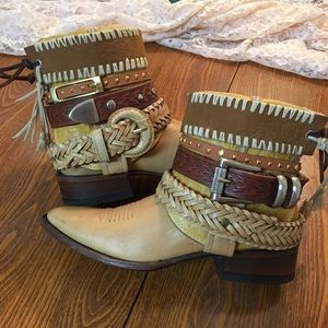 Boho bootie boots UPCycled Cowgirl Boots cowboy
